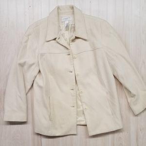 Liz Claiborne ivory wool coat women's size large